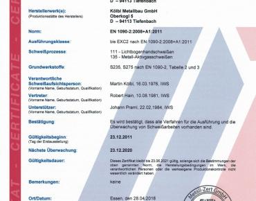 Zertifikat Schweißfachbetrieb DIN EN 1090-2