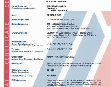 Zertifikat Schweißfachbetrieb DIN EN 1090-2 2020